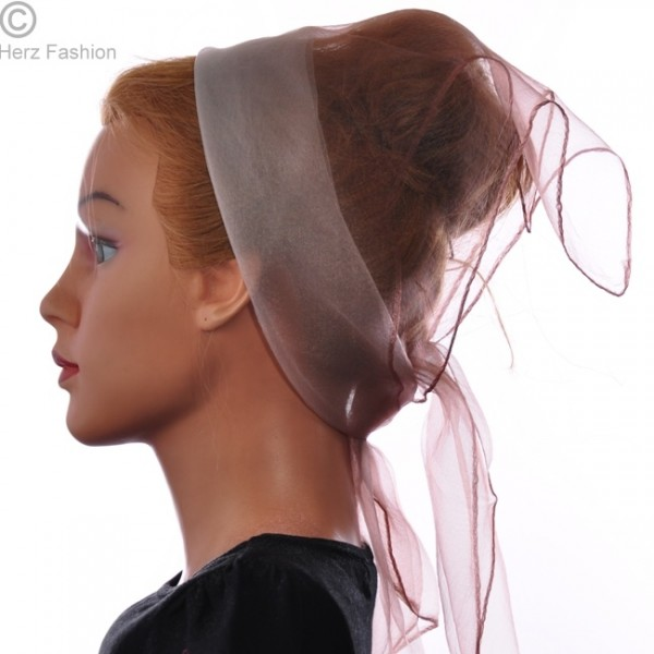 Herz fashion Nylon Tuch Zweifarbig Karamell-Weiß NT3.201