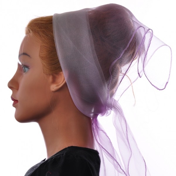 Herz fashion Nylon Tuch Zweifarbig Flieder-Weiß NT3.106