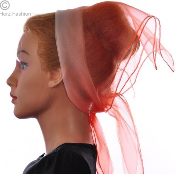 Herz fashion Nylon Tuch Zweifarbig Koralle-Weiß NT3.200