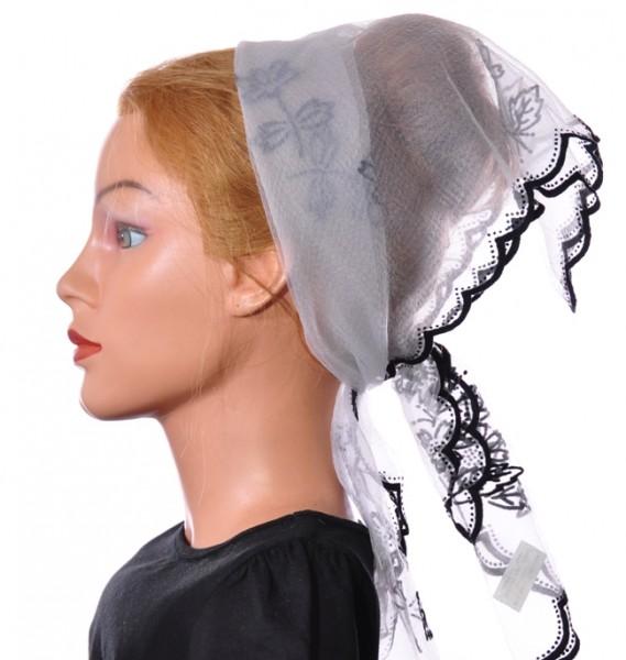 Nylon Tuch Weiß mit Muster 1021